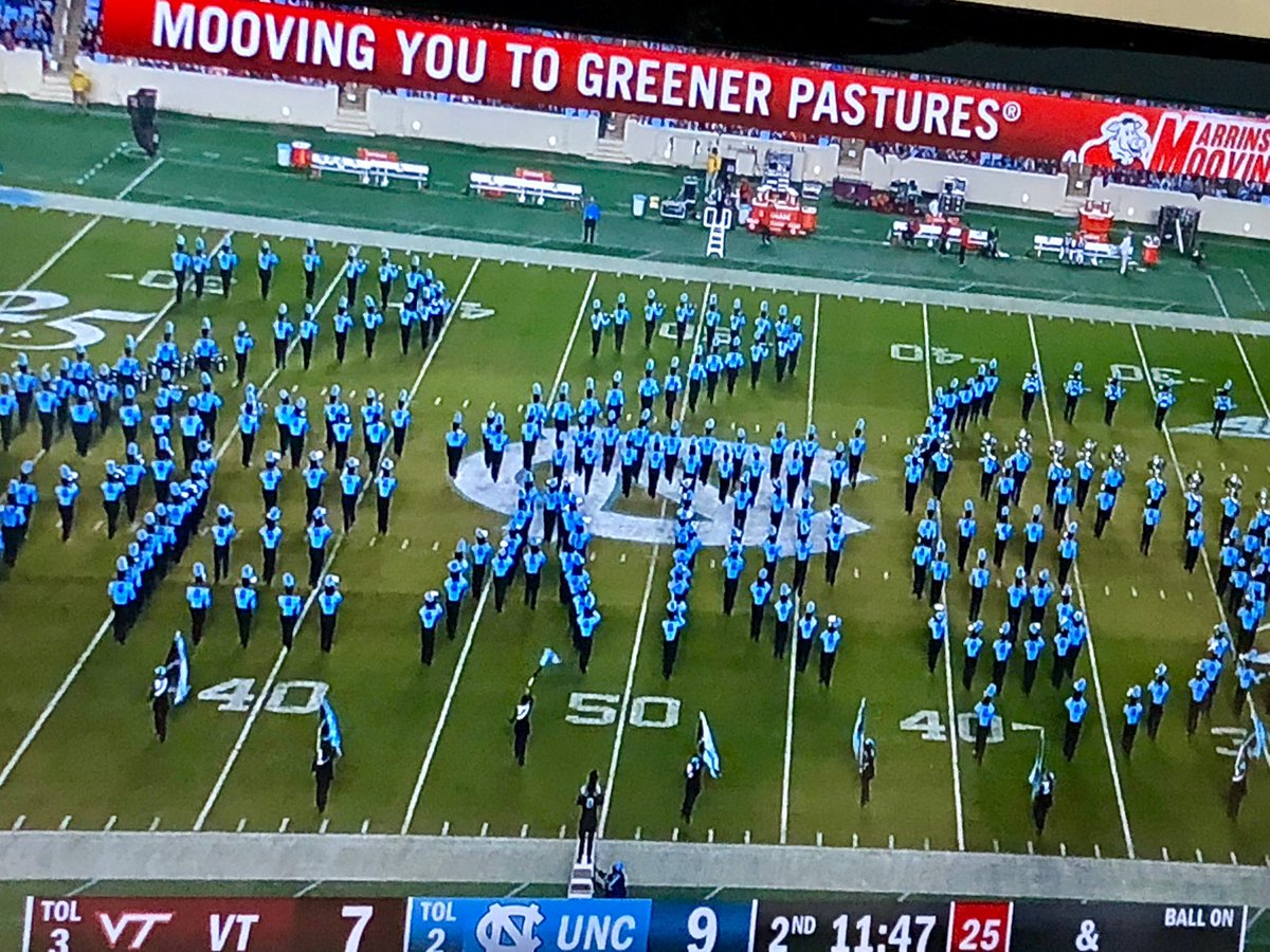 Amazing halftime show from the Marching Tar Heels celebrating @UNC's 225th birthday. #GDTBATH https://t.co/eQ4CNdSAQs