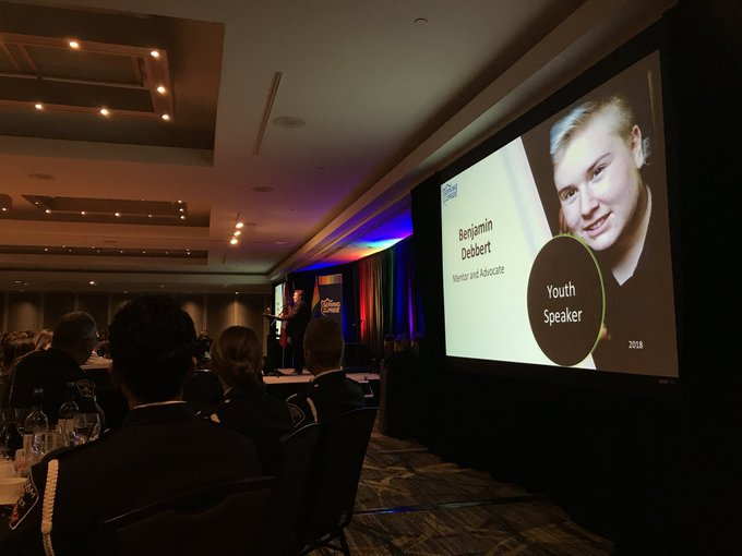 Next up is youth speaker Benjamin Debbert, mentor and advocate @LGBTQ911 #OutOfTheBlue #servingwithpride Photo