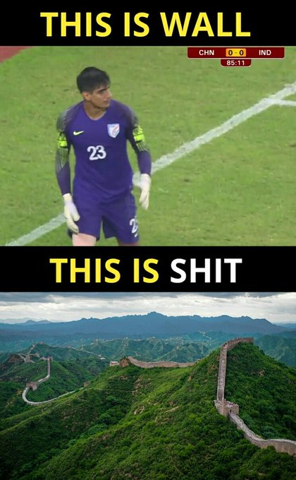 China just discovered a stronger wall yesterday! #CHNvIND Photo