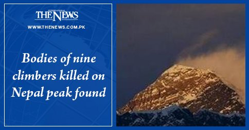 Bodies of nine climbers killed on Nepal peak found Read more: #TheNews Photo
