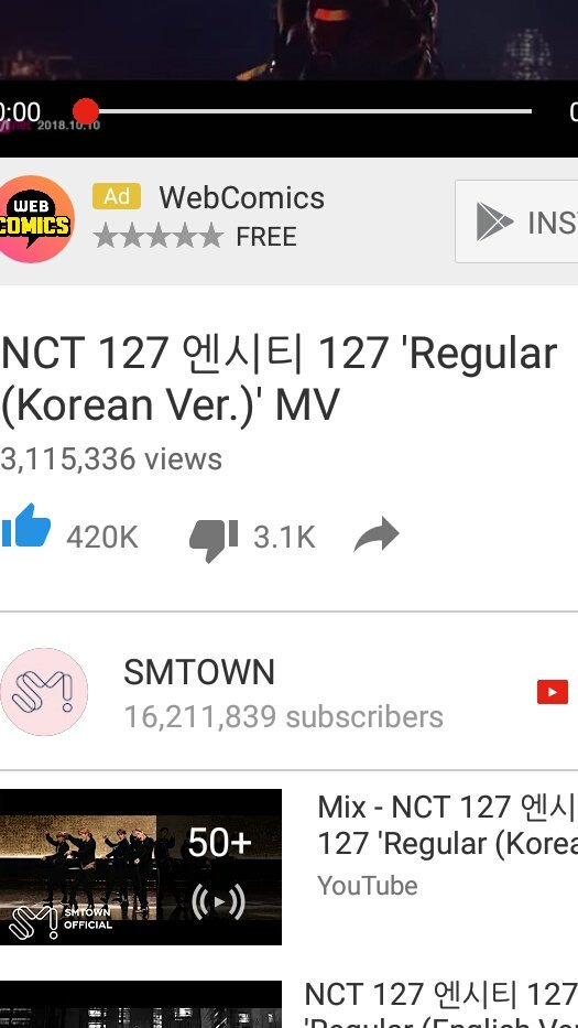 Look at this!! We can easily got 133K for only a fews hours for NCT reaction on Jimmy Kimmel but we need to spend almost 24 hours in order to get 100k for Regular MV to increase the views #FixIrregularViews @YouTube<br>http://pic.twitter.com/NUCEEfBnQR
