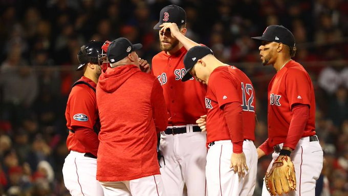 Sale labors in ALCS opener, exits after 4 IP Photo