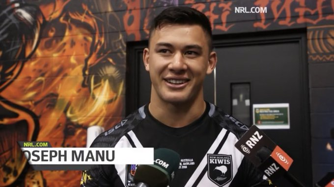 """I'm born and raised in New Zealand and I'm just a proud kiwi."" 🇳🇿 We spoke to @NZRL_Kiwis debutant Joey Manu after his outstanding game against the @Kangaroos Photo"