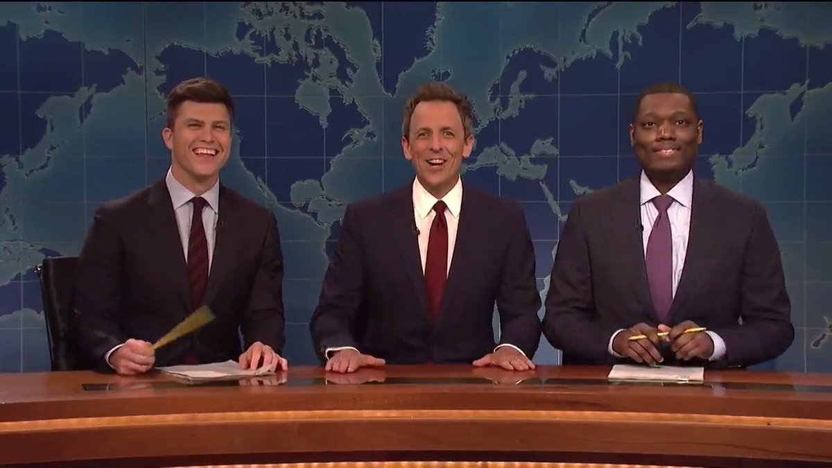 """A special edition of """"REALLY!?!"""" with @sethmeyers, @ColinJost and Michael Che. #SNL"""