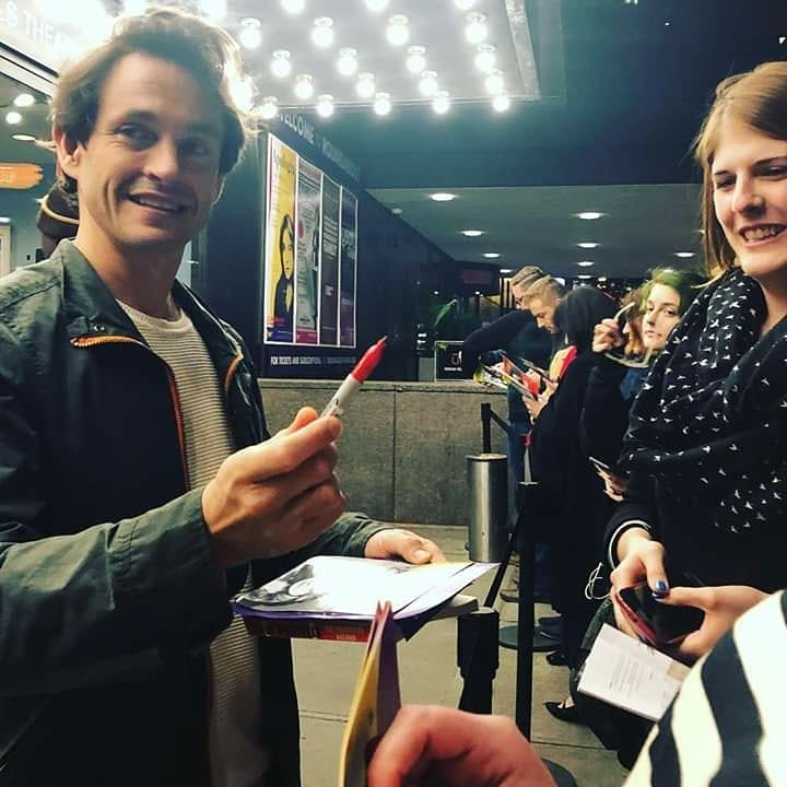 No one was prepared but me. That red sharpie is mine. The third pic w/ the cutest smile you&#39;ve ever seen? Yeah I was telling him how we had seen him earlier &amp; all I saw first was his soft hair and he smiled at my awkward ass    If you share this #HughDancy credit plz <br>http://pic.twitter.com/wn4nq4CgZ8