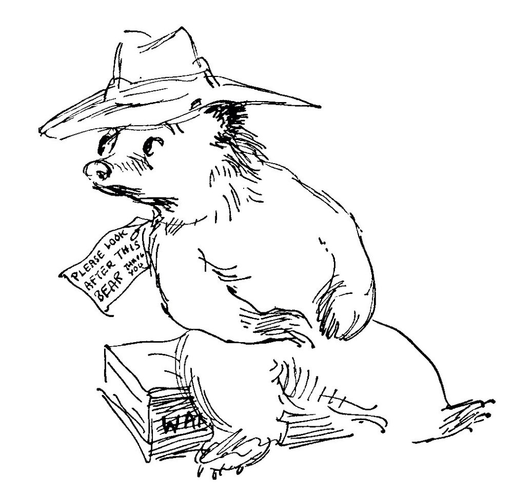 #BookIllustrationOfTheDay is by Peggy Fortnum for Michael Bond&#39;s &quot;A Bear called Paddington&quot; (1958). Yesterday was the exact 60th anniversary of the first book; to celebrate, here is a lovely, free drawing, full of life (also the inspiration for the statue at Paddington Station!). <br>http://pic.twitter.com/YPuYoc1VcB
