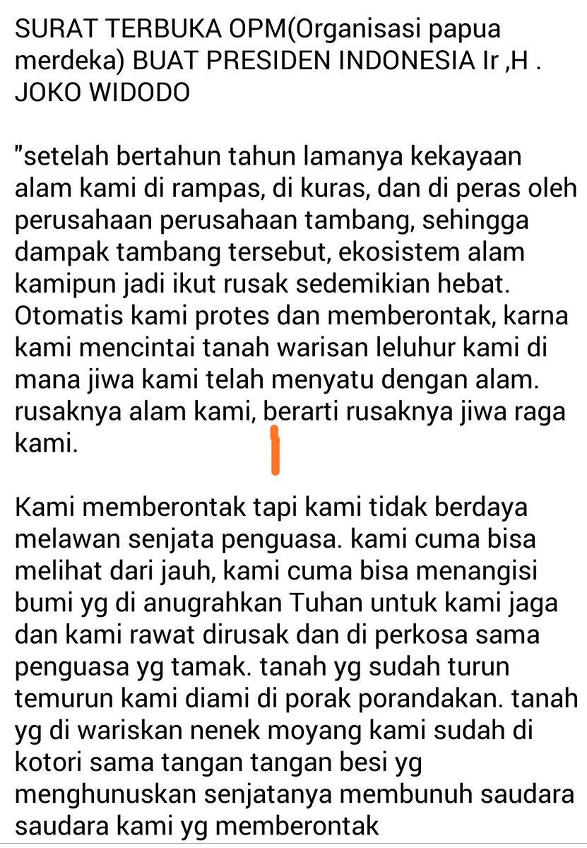 Statement OPM-papua utk dukung Pak jokowi