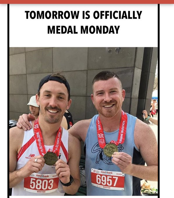 So did the full #melbmara today and now myself and my mate Luke are famous in the official marathon email. I'm also dead. ☠️ Photo