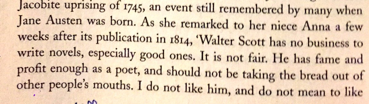 delighted to find Jane Austen complaining about Walter Scott in exactly the same way I complain about Jane Austen