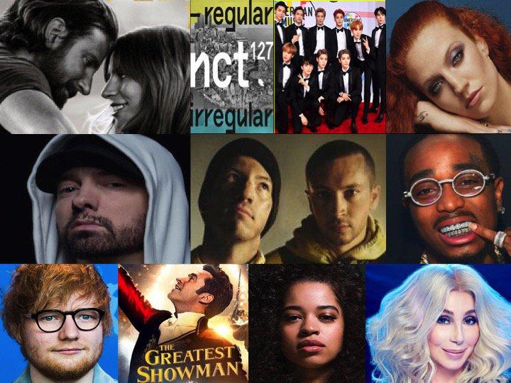 TOP 10 ALBUMS ON 🌎 ITUNES TODAY 1⃣AStarIsBorn #LadyGaga  2⃣NCT127RegularIrregular #NCT127 3⃣AlwaysInBetween #JessGlynne 4⃣Kamikaze #Eminem 5⃣Trench #TwentyOnePilots  6⃣QuavoHuncho #Quavo 7⃣÷ #EdSheeran 8⃣The #Greatestshowman 9⃣EllaMai #EllaMai 🔟DancingQueen #Cher