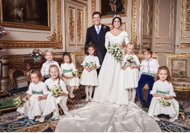 The official #royalwedding portraits released by Princess Eugenie and Jack Brooksbank taken by Alex Bramall at Windsor Castle and Royal Lodge. Eugenie wearing a deess by her friend and wedding guest @Zac_Posen dress for her Friday night reception Photo