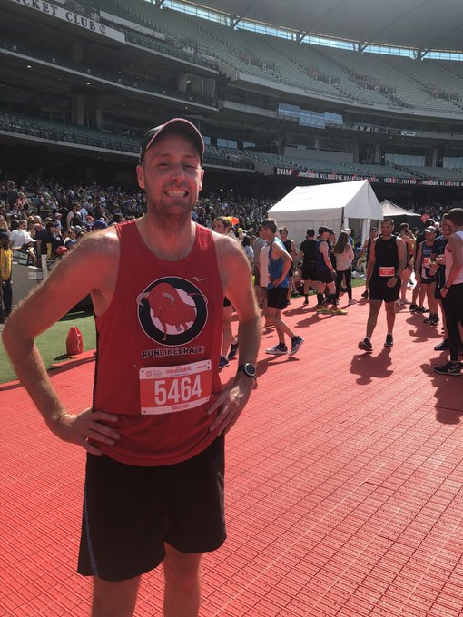 For everyone concerned, I can assure you I did in fact run the @melbmara today! System bib issue still giving me donuts. Hot. Windy. Treated as a training run. But they always bloody hard! Photo