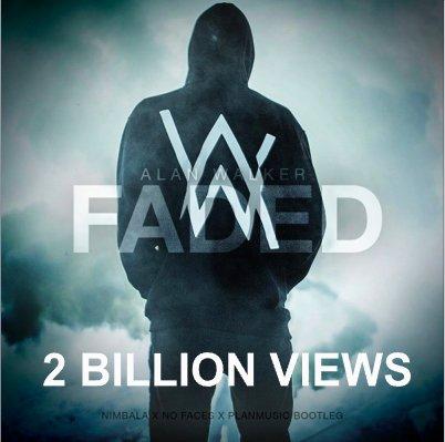 #AlanWalker's #Faded has surpassed 2 Billion views on You Tube!👏2⃣🎞️🎧💥🌟  https://t.co/PCtlYdnRNR
