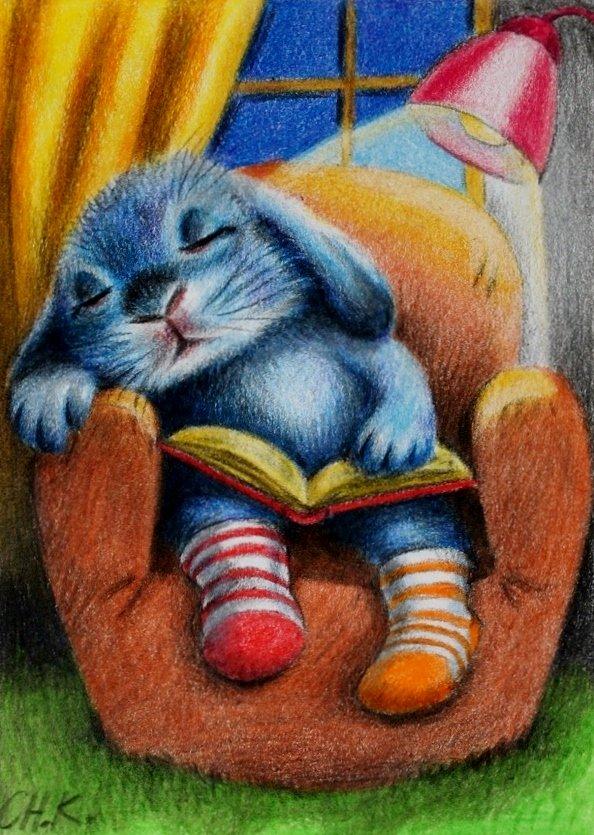 Картинка с зайчиком спокойной ночи, гвоздика