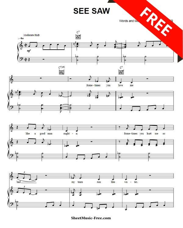 Sheet Music Free On Twitter See Saw Sheet Music Aretha