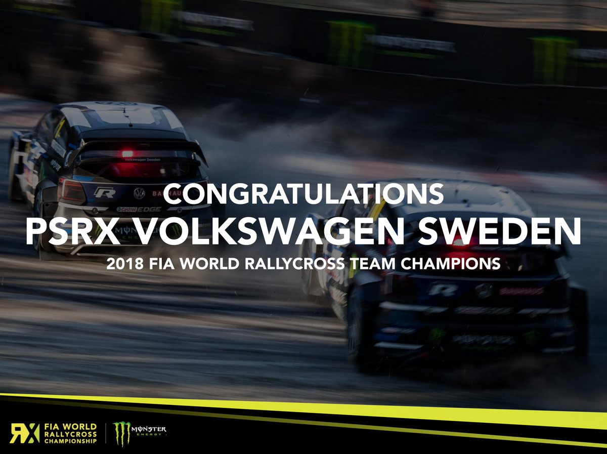 A huge congratulations to the PSRX Volkswagen Sweden team, the 2018 FIA World Rallycross Championship Team Champions!  #WorldRX #GermanyRX<br>http://pic.twitter.com/7gqZXYm6wx