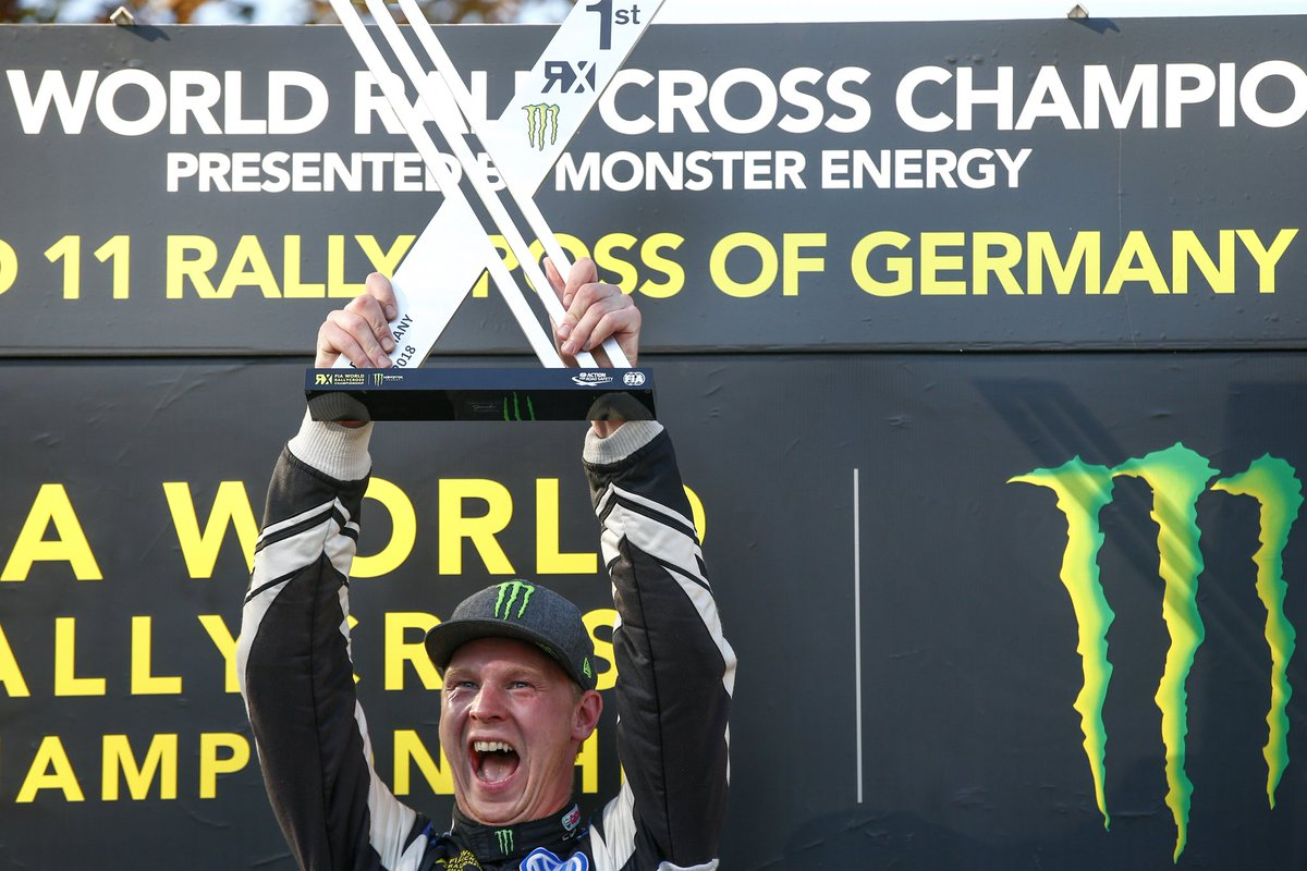 That feeling when you win your 10th race out of 11 in the season, and seal the @FIAWorldRX Teams Championship for PSRX Volkswagen Sweden at #GermanyRX! So happy to win hear, and so happy for the whole team! <br>http://pic.twitter.com/1hrdX2hN3h
