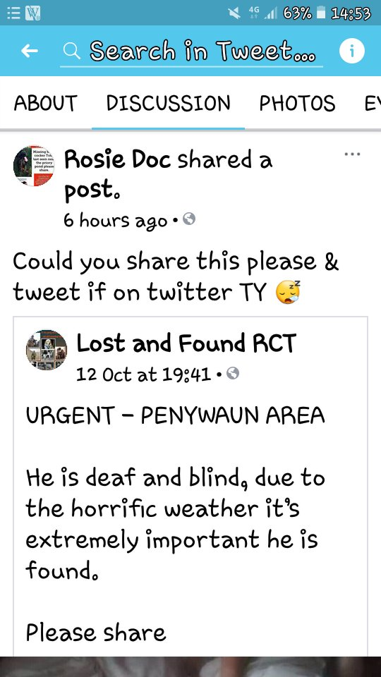 ***MISSING*** #MISSING #missingdog #Lost #LostDog #ScanMe #Penywaun area HE IS DEAF AND BLIND PLZ RT  <br>http://pic.twitter.com/M5CJNNEBRZ