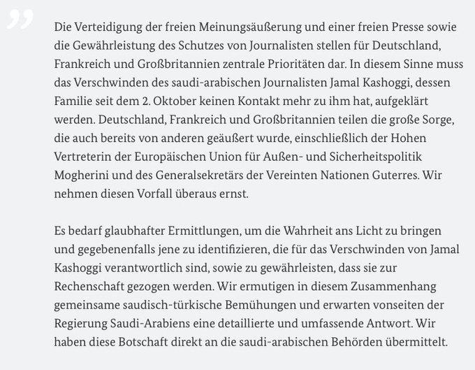Gemeinsame Erklärung der Außenminister von Deutschland, Frankreich und Großbritannien zum Verschwinden von Jamal Khashoggi: Foto