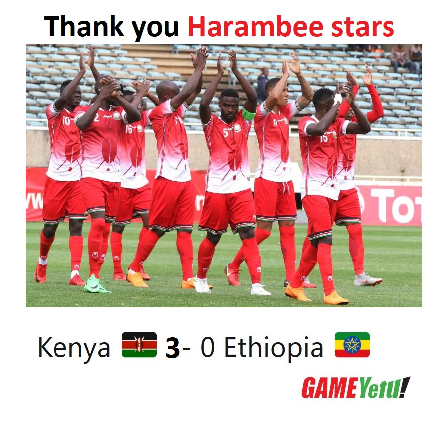 FULL-TIME AFCON qualifier  Kenya 🇰🇪 3- 0 Ethiopia 🇪🇹  Michael Olunga '23  Eric Omondi '27  Victor Wanyama 67' penalty