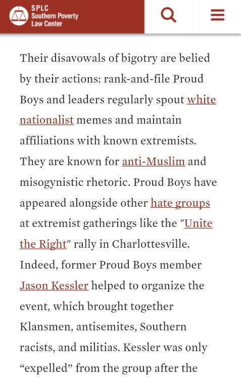 Ho hum. Jason Kessler, anyone? Gavin? Some of us know better.   https://www. splcenter.org/fighting-hate/ extremist-files/group/proud-boys &nbsp; … <br>http://pic.twitter.com/A2wLWlKS8S