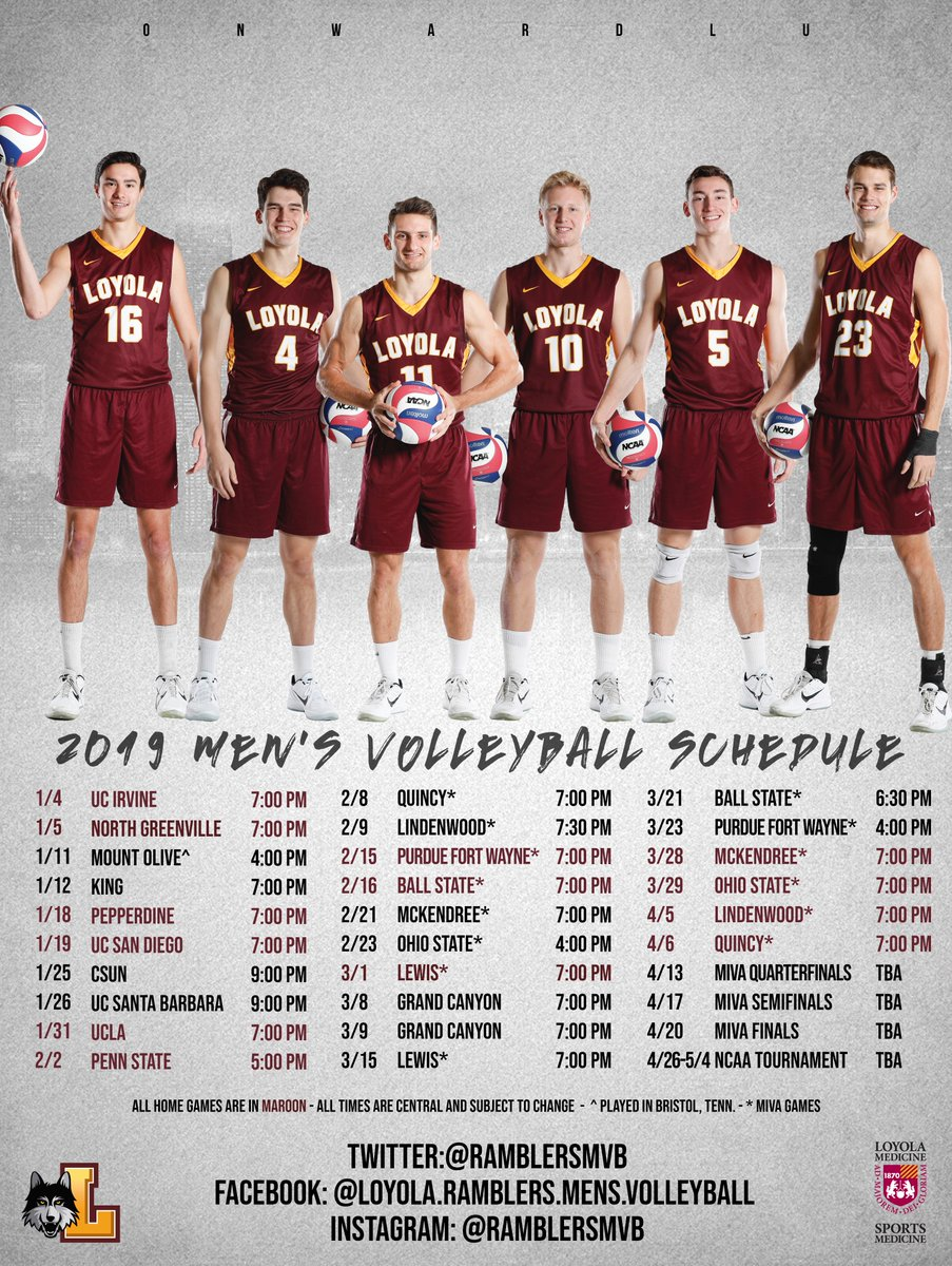 Loyola Calendar.Loyola Men S Volleyball On Twitter Announcement 1 The Regular