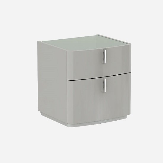 Norman Grey Gl Top Bedside Cabinet In Cashmere High Gloss