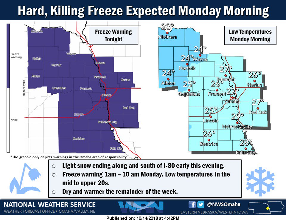 Hard freeze tonight, lows in the mid to upper 20s. Then warmer and dry for the rest of the week. #newx #iawx