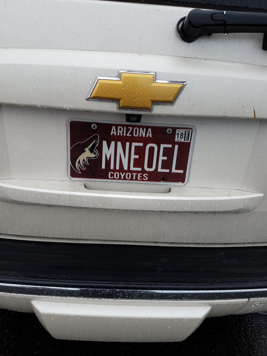 Also saw this plate in the FAR east valley yesterday - judging from the stickers on the window of the vehicle I think someone plays goalie, but their love for @OEL23 is on their license plate!   https://twitter.com/ArizonaPlates/status/1051578009218560000/photo/1 <br>http://pic.twitter.com/4WJIgDysyg  &nbsp;  <br>http://pic.twitter.com/cR55oGx1V8