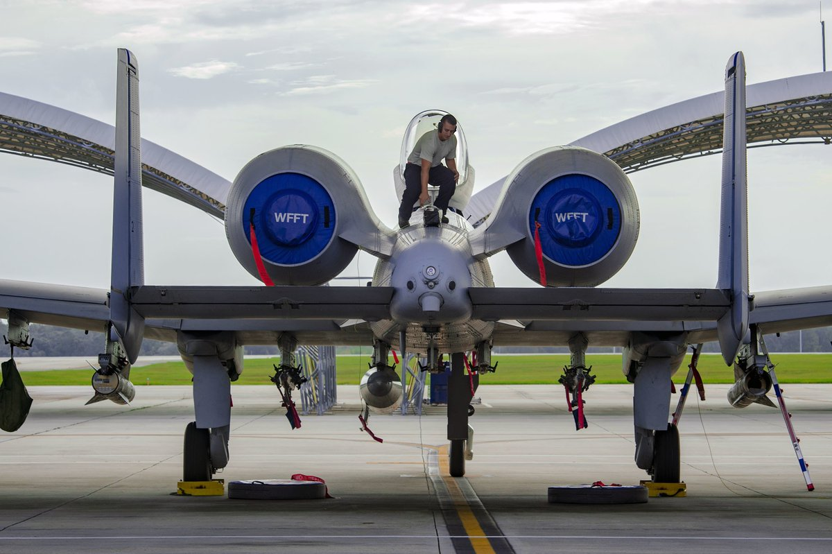 IMAGE: A crew chief prepares an A-10C Thunderbolt II for relocation in anticipation of Hurricane Michael, Oct. 9, 2018, at Moody Air Force Base, Georgia.  Pic: Greg Nash. <br>http://pic.twitter.com/oAwI4vxHmC