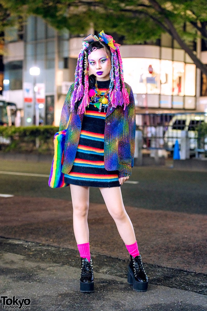 f5750ff7b2d Japanese art student chami () on the street in harajuku wearing colorful  kawaii fashion from the tokyo vintage shop kinji