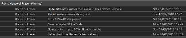 Just tidying up my Inbox and came across these &quot;unbeatable offers&quot; in the weeks before #HouseOfFraser went bust.  Now if I was a cynical person...... <br>http://pic.twitter.com/QHH6aEIYtp