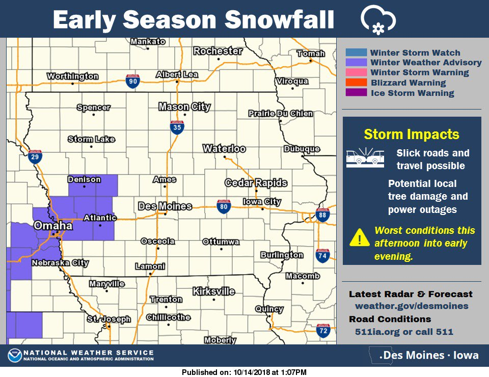 Early Season Winter Weather Advisory This Afternoon! #iawx