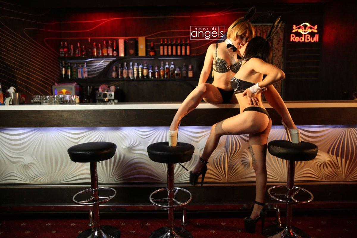 Woman in male strip club