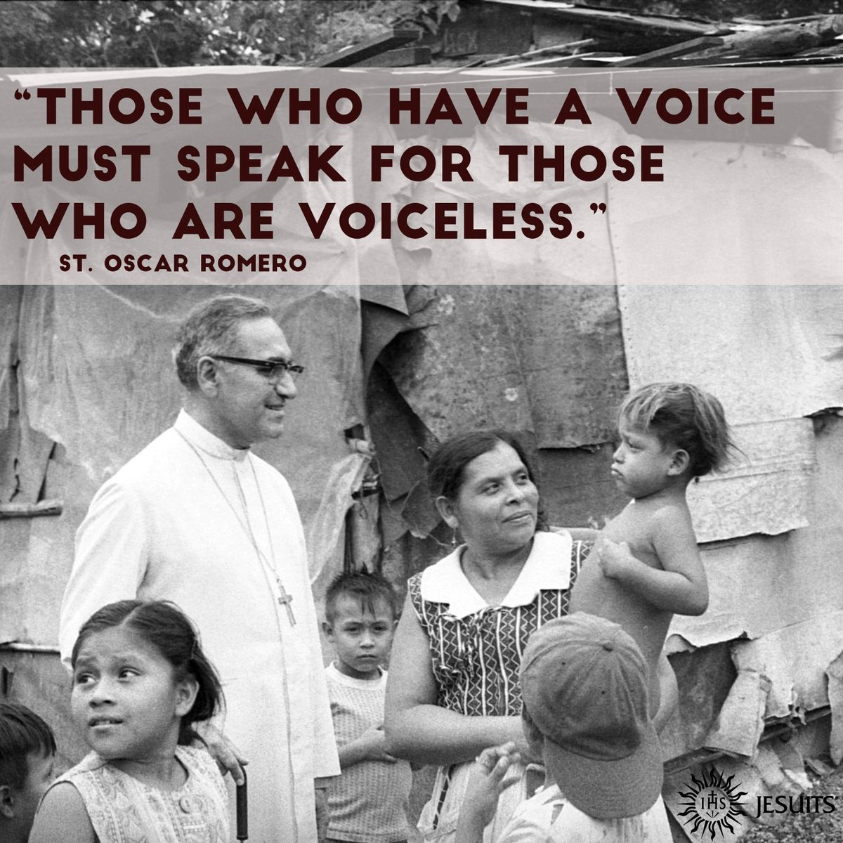"""""""Those who have a voice must speak for those who are voiceless."""" -Saint Oscar Romero <br>http://pic.twitter.com/w3GGuyw3Ib"""