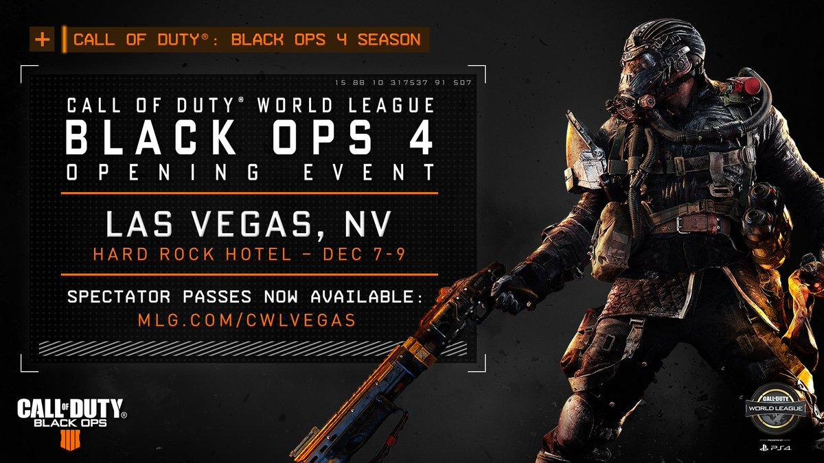 The best teams in the world; the first major #BlackOps4 tournament of the season.  Join us December 7-9 for #CWLPS4 Vegas! https://t.co/VIAwbDLkp5