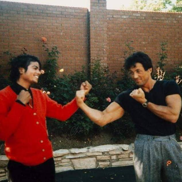 Michael and Sylvester Stallone in Encino,1987. <br>http://pic.twitter.com/kzgZk6zIy5