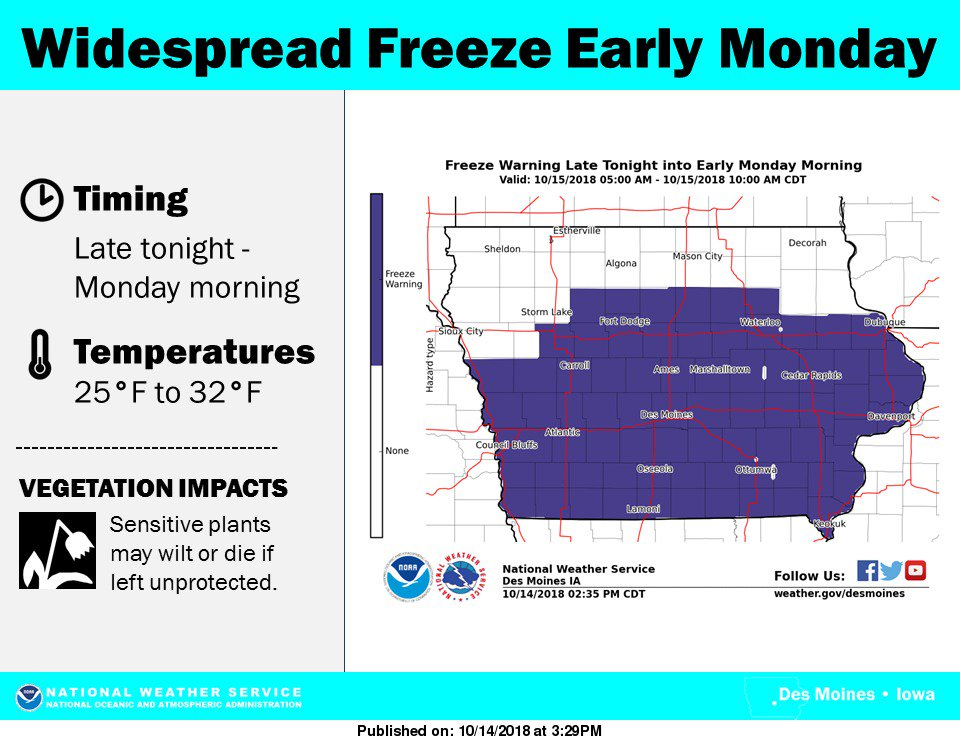 Widespread freeze tonight into early Monday for much of Iowa! #iawx