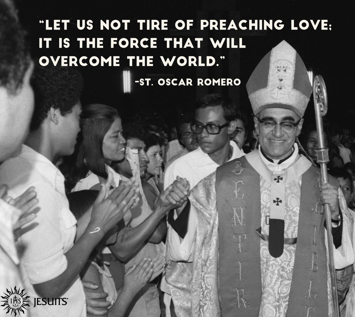 """""""Let us not tire of preaching love; it is the force that will overcome the world."""" -St. Oscar #Romero<br>http://pic.twitter.com/dO13vH4mVH"""