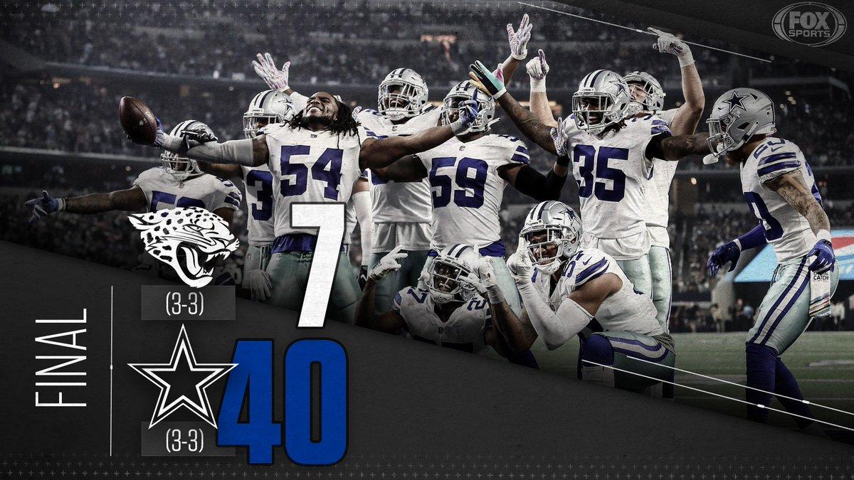 HOW BOUT THEM COWBOYS!  Dallas upsets Jacksonville 40-7. <br>http://pic.twitter.com/tJ32CETVtW