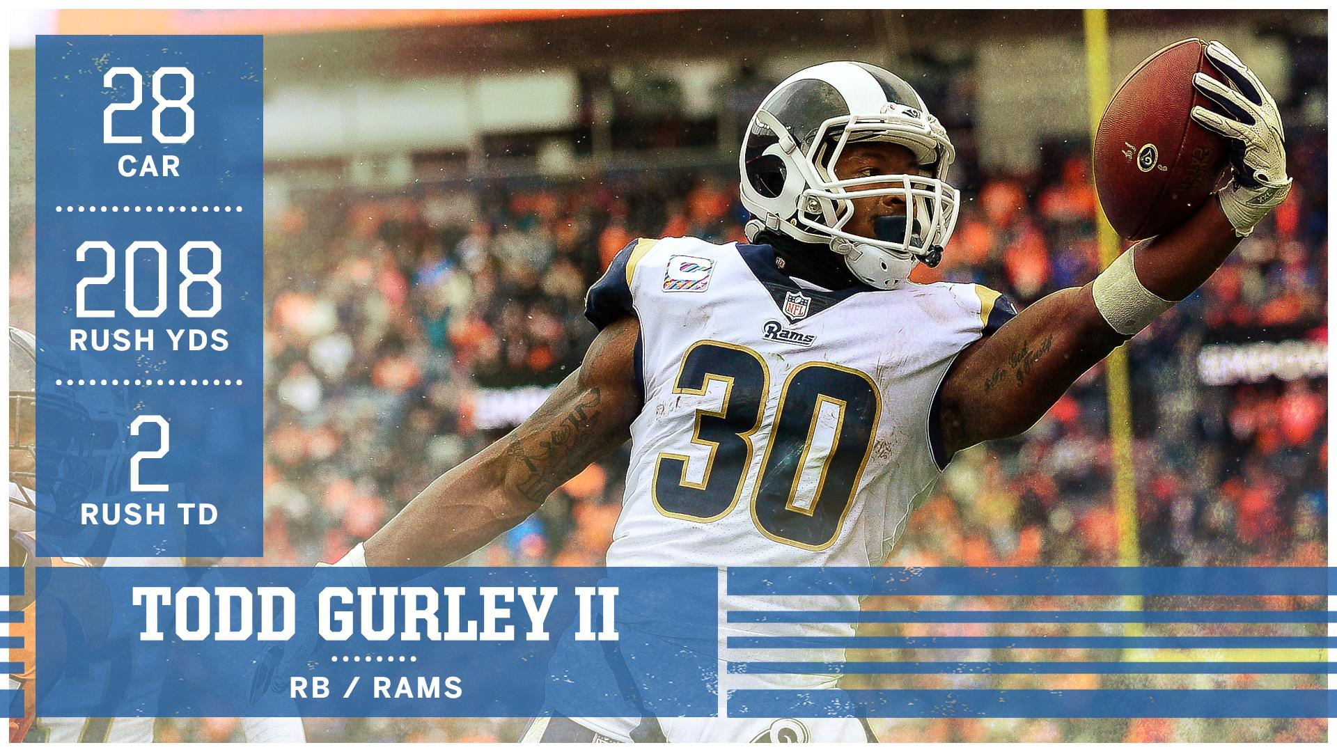 HAVE A GAME, @TG3II!  Gurley is the first Rams player to rush for 200 yards since Marshall Faulk (2001). https://t.co/ncVIE8tvQm
