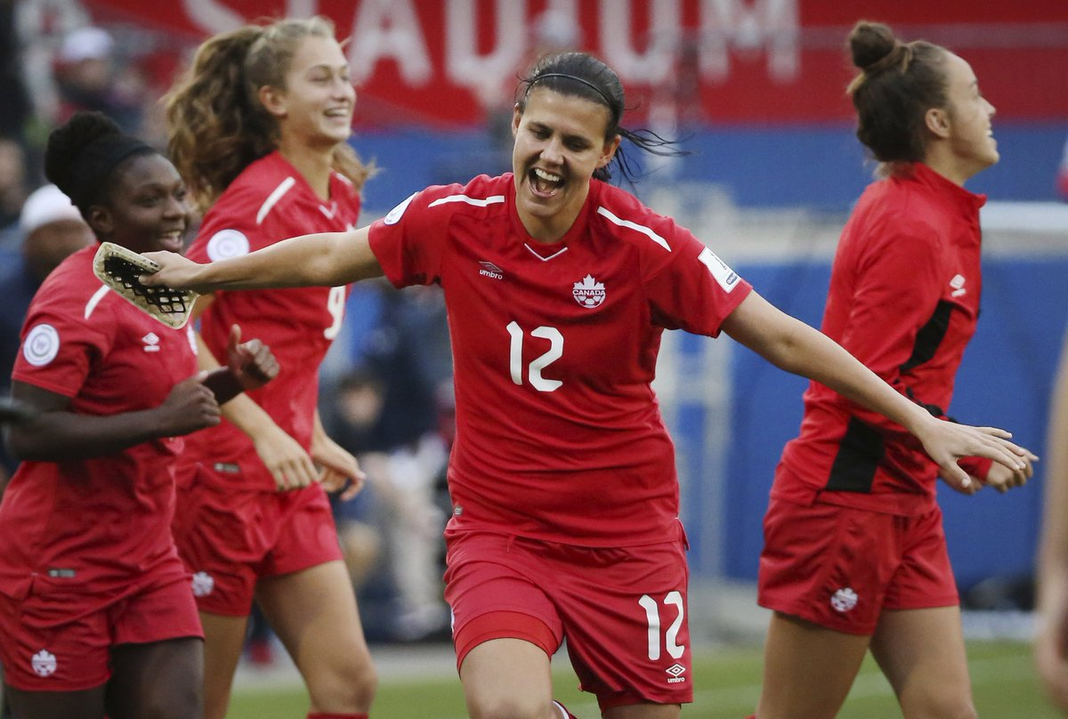 The Canadian Women&#39;s Soccer Team has clinched a spot at next year&#39;s World Cup in France.  Canada cruised to a 7-0 victory over Panama Sunday, with Christine Sinclair scoring twice. She now has 177th international goals. <br>http://pic.twitter.com/HpMlOTAX6m