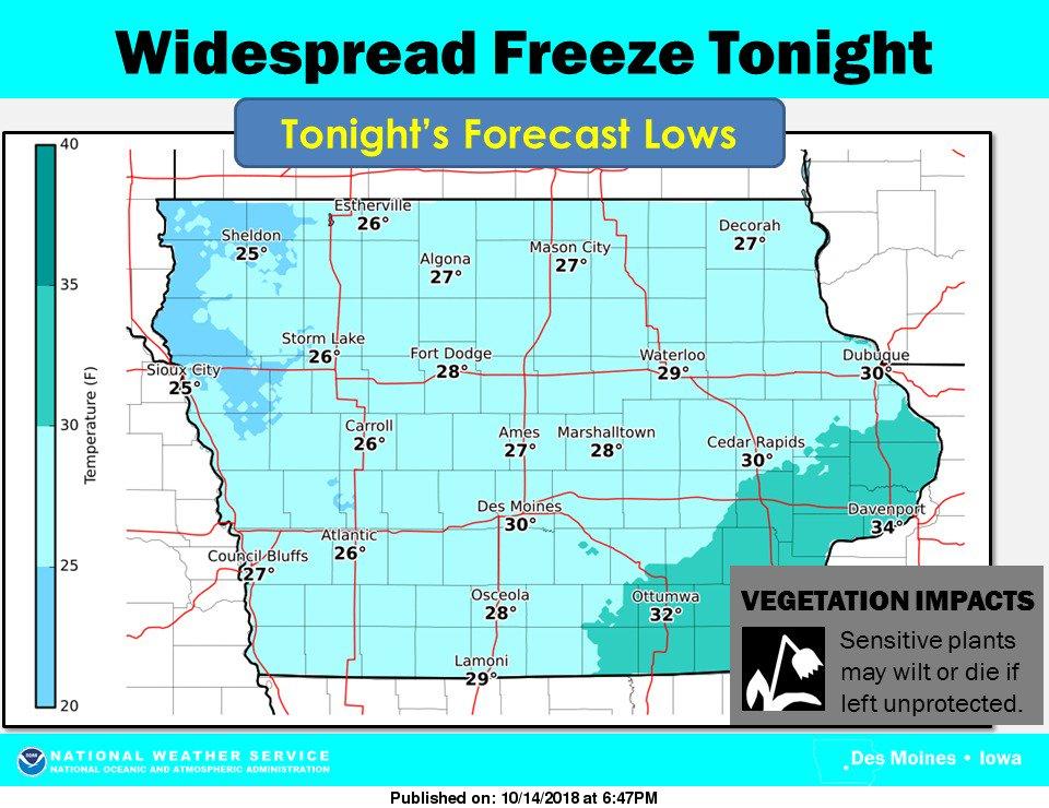 Coldest temperatures of the season so far coming tonight! #Brrrrrrr #IowaWeather #IAWX