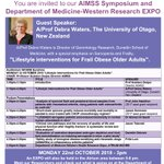 "1 WEEK AWAY: 2018 @AIMSSresearch Symposium, WH Research Week Monday 22nd Oct 3-6pm Presenters: Seed grant recipients & AIMSS researchers.  Keynote Speaker, A/Prof Debra Waters, University of Otago NZ,  will be presenting ""Lifestyle Interventions for Frail Obese older Adults"""