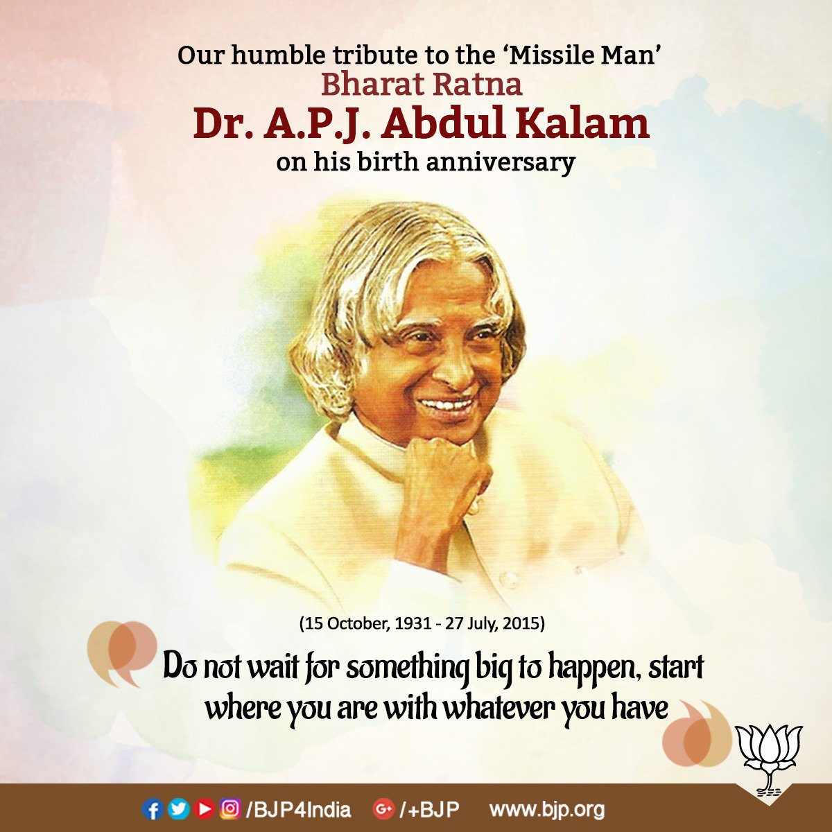 Our humble tribute to the Bharat Ratna Dr. A.P.J Abdul Kalam on his birth anniversary.