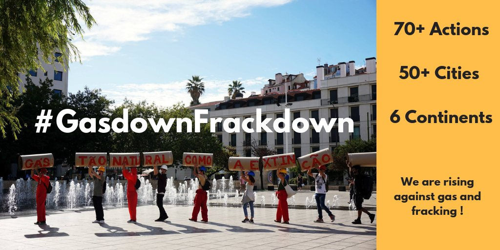 This weekend, thousands of people took action against gas and fracking in the #GasdownFrackdown ! Over 70 actions in 50+ cities over 6 continents 🌎 What a turnout! Check out the pictures of the people rising for real energy solutions bit.ly/2OnKrnP