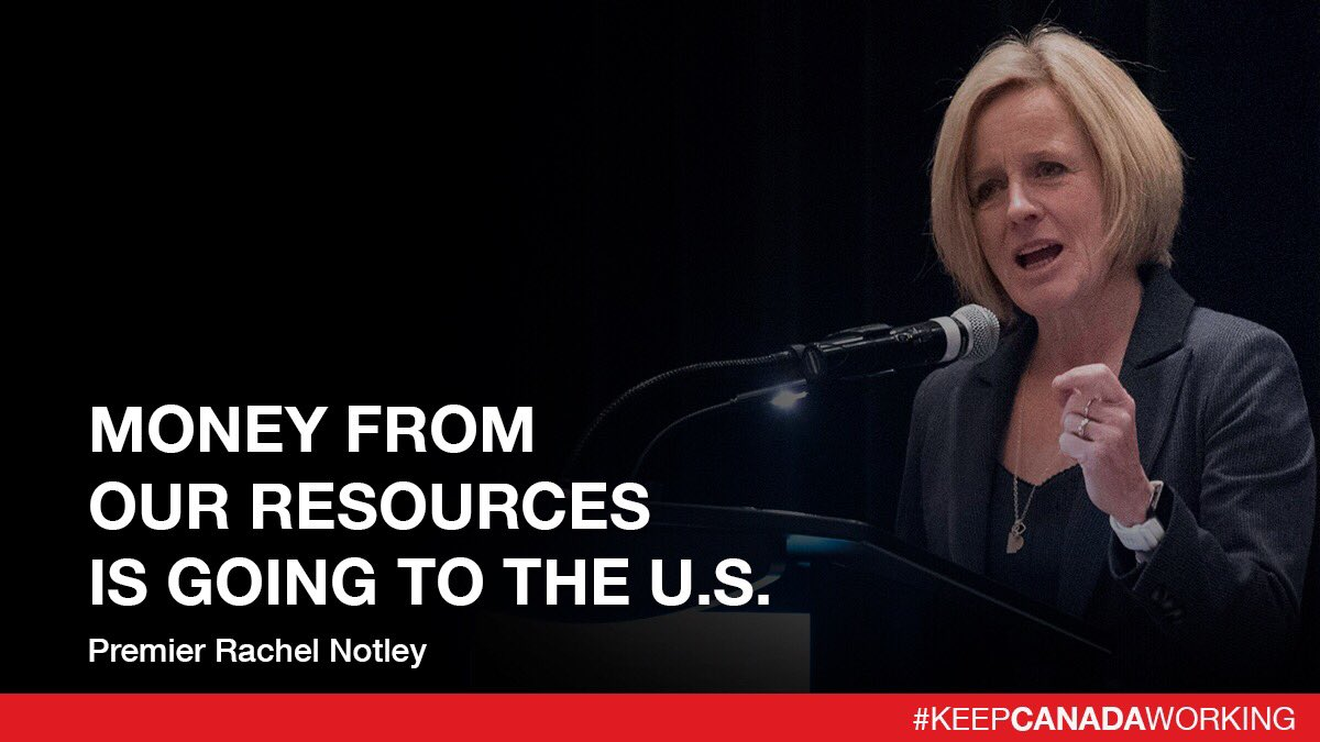 Our lack of access to other markets means we're shipping - mostly to the U.S. - for much less than our resources are worth. This punishing & record-setting price differential means, instead of that money supporting our economy, it's going into whatever the Americans want. #ableg