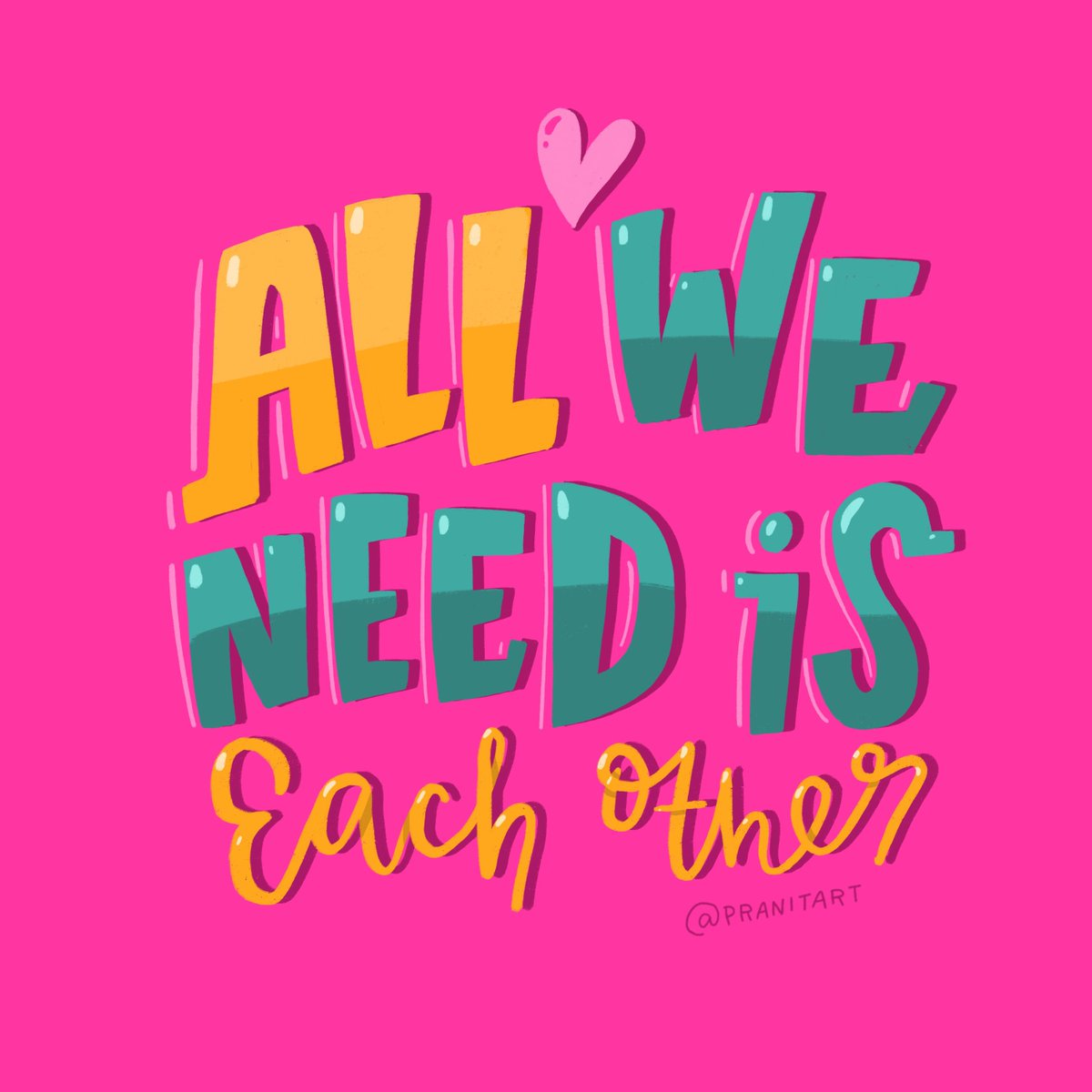 Amidst all the #metoo stories - all we really need is each other. I hope you have a good Monday! #WeAreAllInThisTogether #StayStrong . . . . . . #1416 #pranitasdrawingaday #type #goodtypetuesday #illustrationartist #lettering #handlettering #handmadetype #postcards #thegridlife