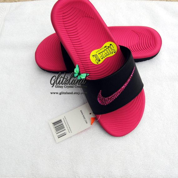 5ed37fe31306 Swarovski Girls   Women Nike Kawa Slides   Flip Flops Blinged with Fuchsia  SWAROVSKI® Crystals