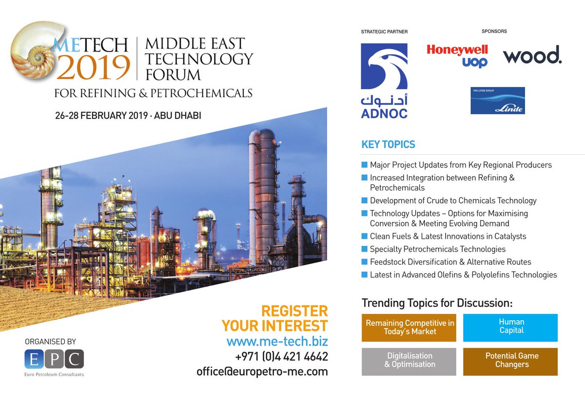 Middle East Technology Forum for Refining & Petrochemicals (ME-Tech) @ Bengaluru | Karnataka | India